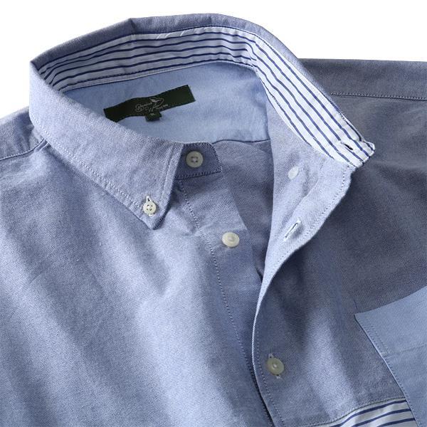 大きいサイズ メンズ Bowerbirds Works シャツ 長袖 オックスフォード 切替 配色 ボタンダウンシャツ azsh-190106
