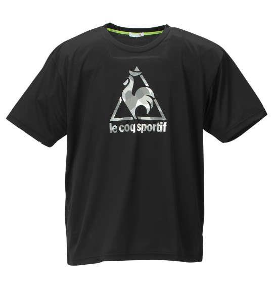 大きいサイズ メンズ LE COQ SPORTIF ボックス メッシュ ニット 半袖 Tシャツ ブラック 1178-9100-2 2L 3L 4L 5L 6L