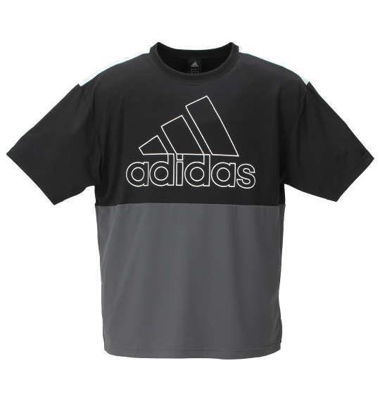 大きいサイズ メンズ adidas ビッグロゴ 半袖 Tシャツ ブラック × グレー 1178-9150-2 3XO 4XO 5XO 6XO 7XO 8XO