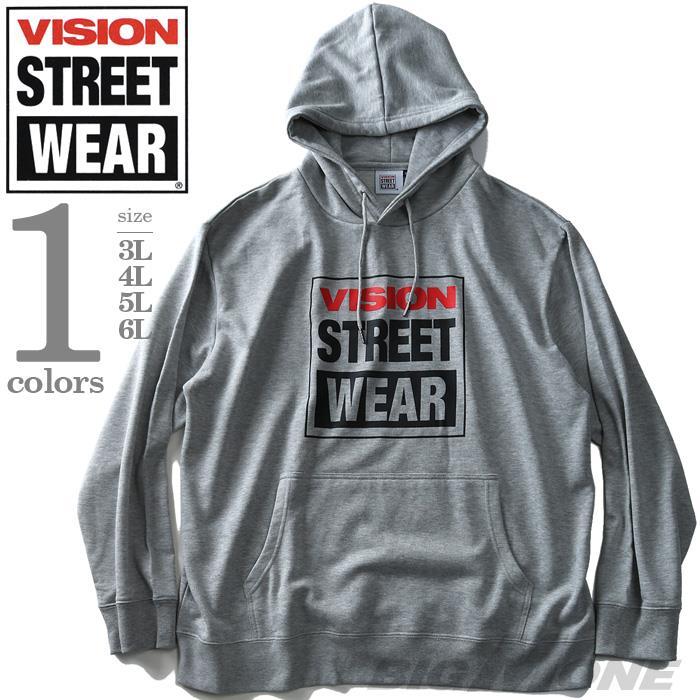 大きいサイズ メンズ VISION STREET WEAR プリント プルオーバー パーカー 2019fk-bara f19-026