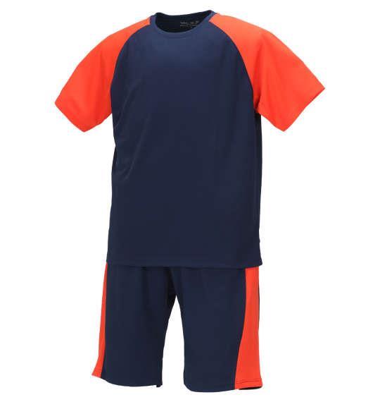 大きいサイズ メンズ Mc.S.P 吸汗速乾 半袖 Tシャツ + ハーフパンツ ネイビー × オレンジ 1156-9210-2 3L 4L 5L 6L 8L