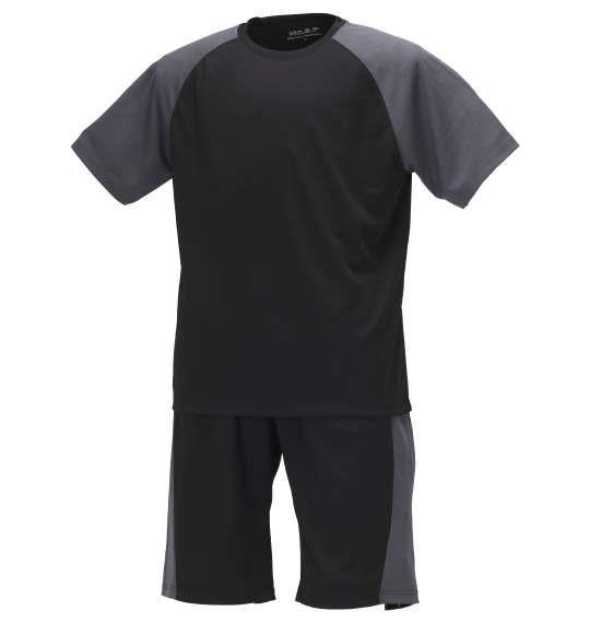 大きいサイズ メンズ Mc.S.P 吸汗速乾 半袖 Tシャツ + ハーフパンツ ブラック × チャコール 1156-9210-4 3L 4L 5L 6L 8L