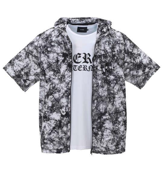 大きいサイズ メンズ BEAUMERE 総柄メッシュ 半袖 フルジップ パーカー + 半袖 Tシャツ ホワイト系 × ホワイト 1158-9200-1 3L 4L 5L 6L