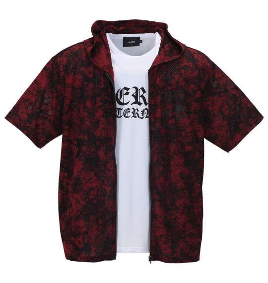 大きいサイズ メンズ BEAUMERE 総柄メッシュ 半袖 フルジップ パーカー + 半袖 Tシャツ バーガンディ系 × ホワイト 1158-9200-2 3L 4L 5L 6L