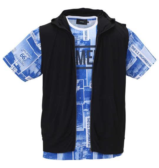 大きいサイズ メンズ BEAUMERE ノースリーブ パーカー + 総柄 裾ラウンド 半袖 Tシャツ ブラック × ブルー 1158-9201-2 3L 4L 5L 6L