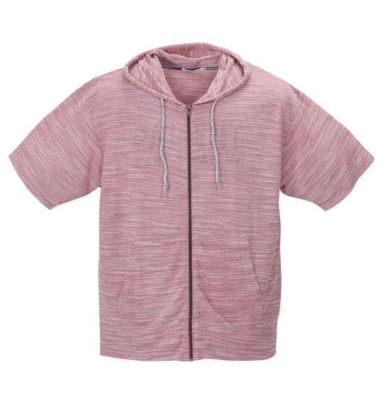 大きいサイズ メンズ launching pad 甘編み スラブ 天竺 半袖 フルジップ パーカー + 半袖 Tシャツ ピンク杢 × ホワイト 1158-9250-3 3L 4L 5L 6L