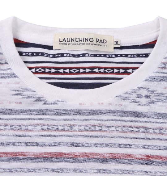 大きいサイズ メンズ launching pad 裏プリント オルテガ ボーダー 半袖 Tシャツ ネイビー系 1158-9251-1 3L 4L 5L 6L