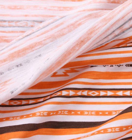 大きいサイズ メンズ launching pad 裏プリント オルテガ ボーダー 半袖 Tシャツ オレンジ系 1158-9251-2 3L 4L 5L 6L
