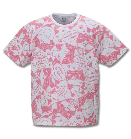大きいサイズ メンズ NECOBUCHI-SAN 総柄 プリント 半袖 Tシャツ ホワイト × ピンク 1158-9261-1 3L 4L 5L 6L