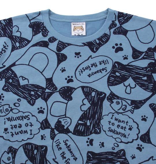 大きいサイズ メンズ NECOBUCHI-SAN 総柄 プリント 半袖 Tシャツ ブルー × ネイビー 1158-9261-2 3L 4L 5L 6L