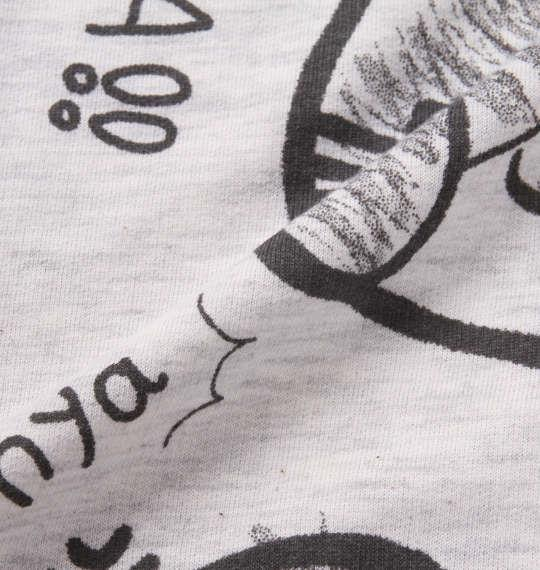 大きいサイズ メンズ NECOBUCHI-SAN ミニ裏毛 総柄 プリント 半袖 フルジップ パーカー ホワイト杢 1158-9262-1 3L 4L 5L 6L