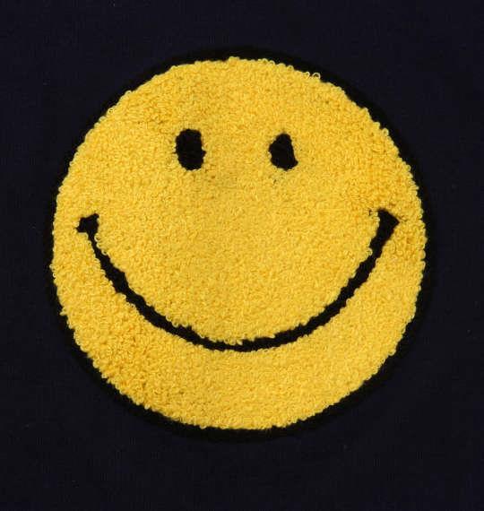 大きいサイズ メンズ SMILEY FACE サガラ刺繍 半袖 Tシャツ ネイビー 1158-9270-1 3L 4L 5L 6L