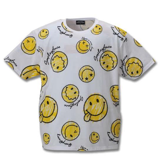 大きいサイズ メンズ SMILEY FACE 総柄 プリント 半袖 Tシャツ ホワイト 1158-9271-1 3L 4L 5L 6L