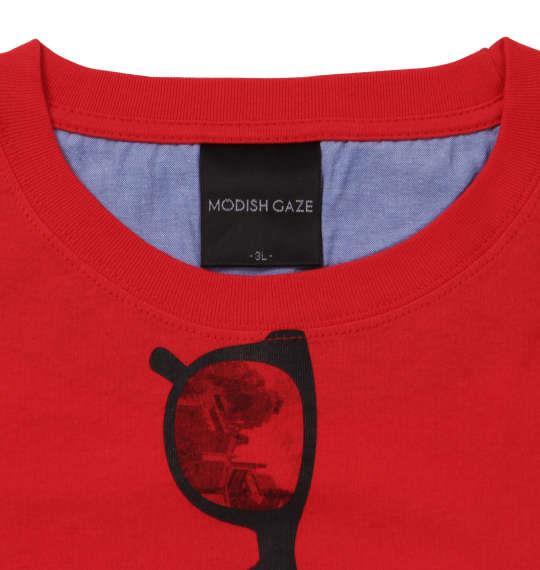 大きいサイズ メンズ MODISH GAZE おもしろポケット 半袖 Tシャツ レッド 1158-9281-1 3L 4L 5L 6L
