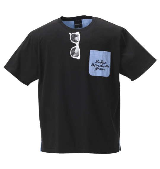 大きいサイズ メンズ MODISH GAZE おもしろポケット 半袖 Tシャツ ブラック 1158-9281-2 3L 4L 5L 6L