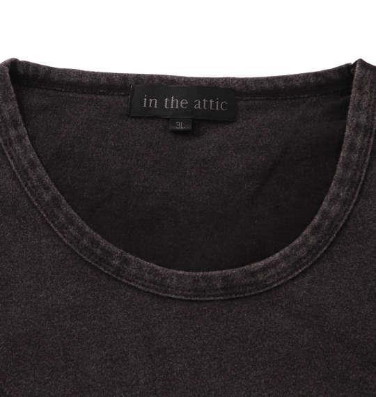 大きいサイズ メンズ in the attic エンボス パッチワーク パウダー加工 半袖 Tシャツ ブラック 1158-9291-2 3L 4L 5L 6L