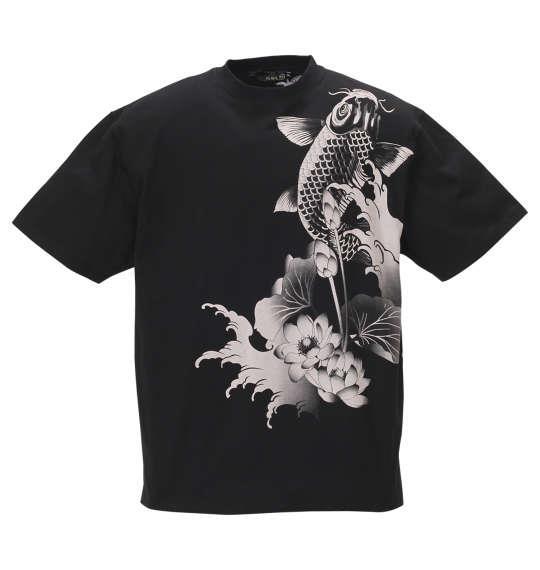 大きいサイズ メンズ 絡繰魂 夫婦鯉 刺繍 半袖 Tシャツ ブラック 1158-9532-1 3L 4L 5L 6L