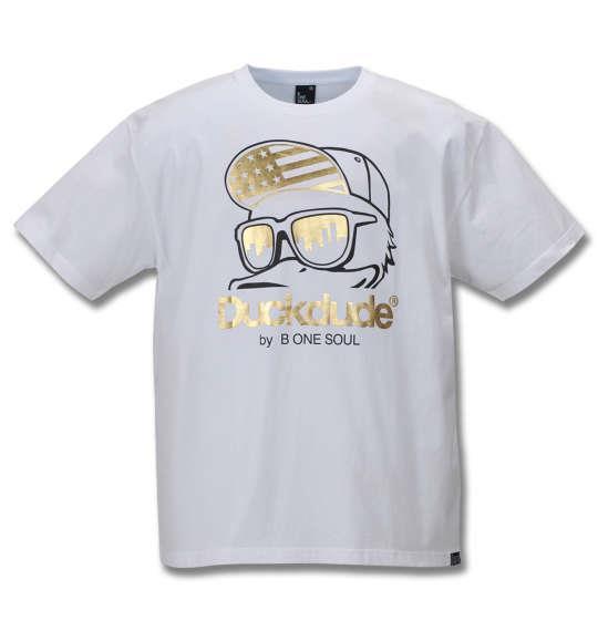 大きいサイズ メンズ b-one-soul DUCK DUDE 箔プリント 半袖 Tシャツ ホワイト 1158-9550-1 3L 4L 5L 6L
