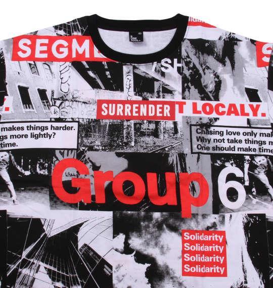大きいサイズ メンズ b-one-soul フォト 総柄 半袖 Tシャツ ブラック × レッド 1158-9553-1 3L 4L 5L 6L