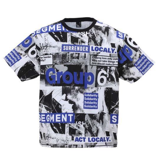 大きいサイズ メンズ b-one-soul フォト 総柄 半袖 Tシャツ ブラック × ブルー 1158-9553-2 3L 4L 5L 6L
