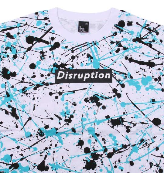 大きいサイズ メンズ b-one-soul スプラッシュ 総柄 半袖 Tシャツ ホワイト × ブルー 1158-9554-1 3L 4L 5L 6L