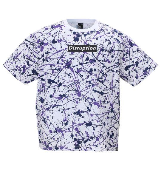 大きいサイズ メンズ b-one-soul スプラッシュ 総柄 半袖 Tシャツ ホワイト × パープル 1158-9554-2 3L 4L 5L 6L