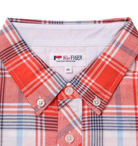 大きいサイズ メンズ H by FIGER マドラスチェック B.D 半袖 シャツ オレンジ系 1167-9221-1 3L 4L 5L 6L 8L