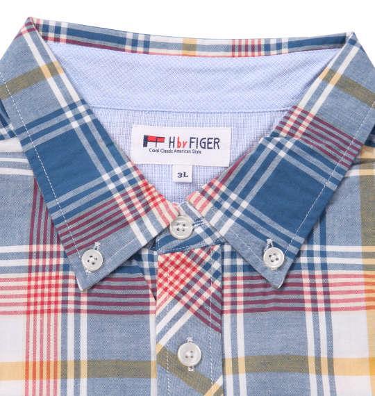 大きいサイズ メンズ H by FIGER マドラスチェック B.D 半袖 シャツ ブルー系 1167-9221-2 3L 4L 5L 6L 8L