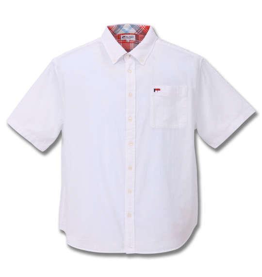大きいサイズ メンズ H by FIGER パナマ織 B.D 半袖 シャツ オフホワイト 1167-9222-1 3L 4L 5L 6L 8L