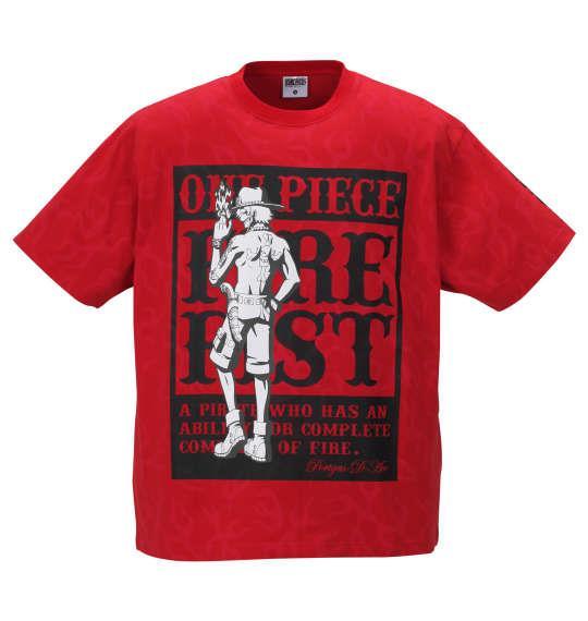 大きいサイズ メンズ ONE PIECE 総柄 半袖 Tシャツ レッド 1168-9211-1 3L 4L 5L 6L 8L
