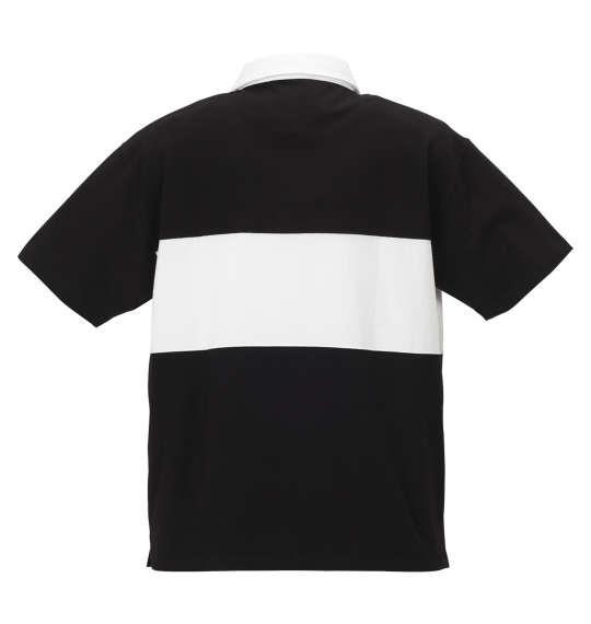 大きいサイズ メンズ H by FIGER 切替 半袖 ラガーシャツ ブラック × ホワイト 1168-9232-2 3L 4L 5L 6L 8L