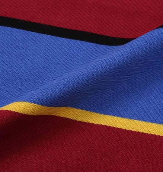 大きいサイズ メンズ H by FIGER ボーダー 半袖 ラガーシャツ ブルー × ワイン 1168-9233-1 3L 4L 5L 6L 8L
