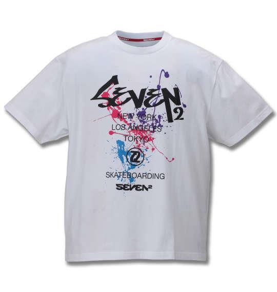 大きいサイズ メンズ SEVEN2 半袖 Tシャツ ホワイト 1168-9260-1 3L 4L 5L 6L