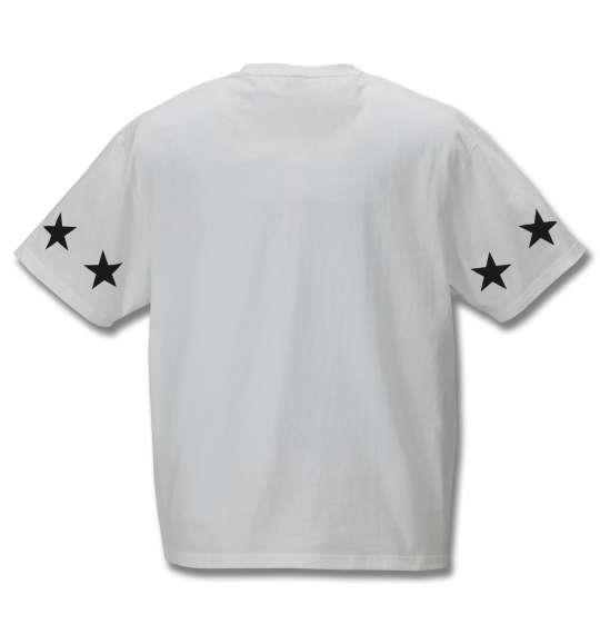 大きいサイズ メンズ SHELTY 星条旗 BOX ロゴ 刺繍 半袖 Tシャツ オフホワイト 1168-9270-1 3L 4L 5L 6L 8L