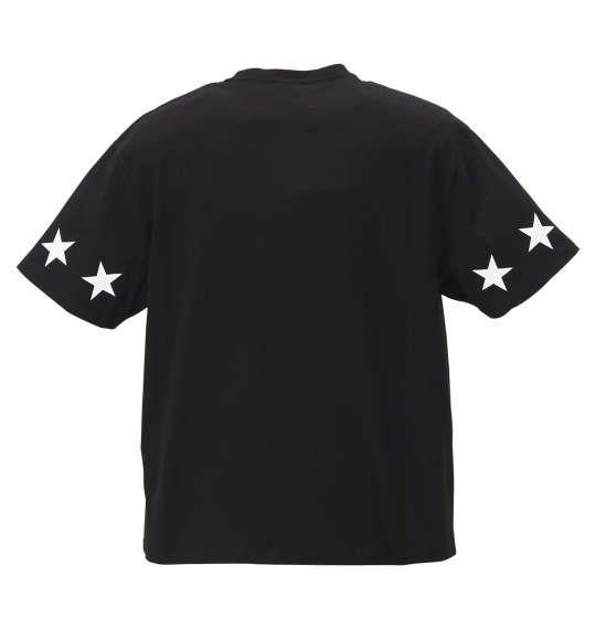 大きいサイズ メンズ SHELTY 星条旗 BOX ロゴ 刺繍 半袖 Tシャツ ブラック 1168-9270-2 3L 4L 5L 6L 8L