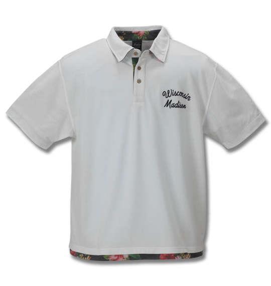 大きいサイズ メンズ SHELTY 鹿の子 ボタニカル 切替 半袖 ポロシャツ オフホワイト 1168-9272-1 3L 4L 5L 6L 8L