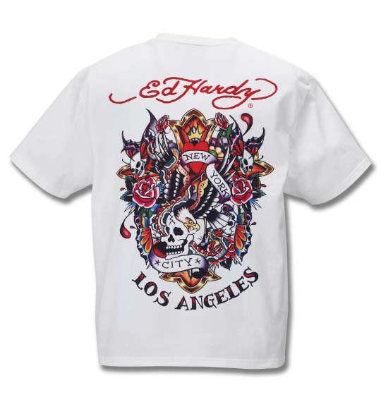 大きいサイズ メンズ Ed Hardy 天竺 プリント 半袖 Tシャツ オフホワイト 1178-9206-1 3L 4L 5L 6L 8L