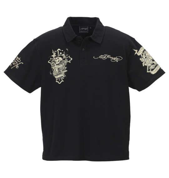 大きいサイズ メンズ Ed Hardy 鹿の子 刺繍 & プリント 半袖 ポロシャツ ブラック 1178-9207-2 3L 4L 5L 6L 8L