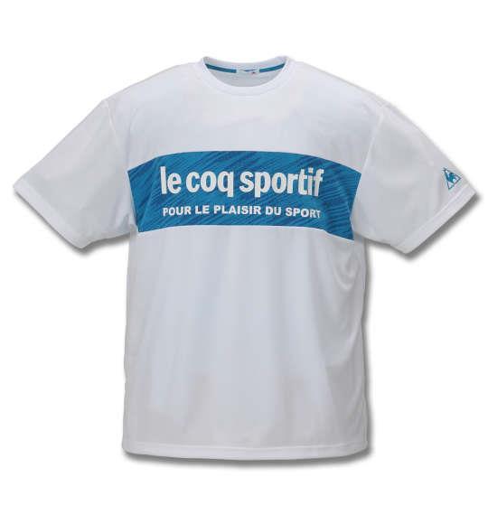 大きいサイズ メンズ LE COQ SPORTIF ドライ ジャガード ニット 半袖 Tシャツ ホワイト 1178-9260-1 2L 3L 4L 5L 6L