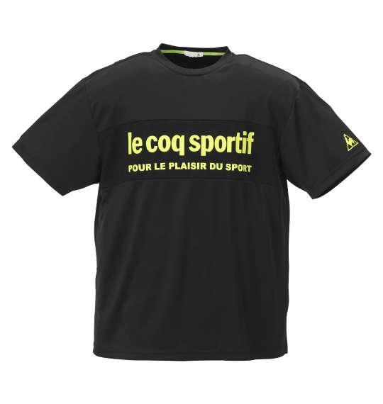 大きいサイズ メンズ LE COQ SPORTIF ドライ ジャガード ニット 半袖 Tシャツ ブラック 1178-9260-2 2L 3L 4L 5L 6L