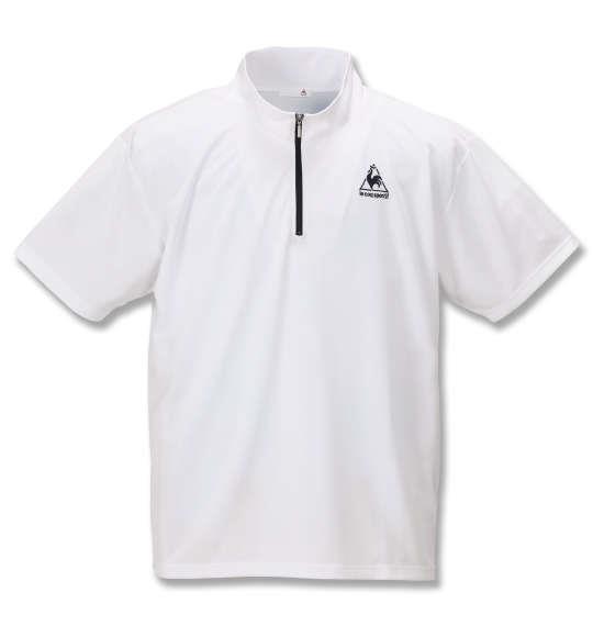 大きいサイズ メンズ LE COQ SPORTIF エアロ ドライ ニット ハーフジップ 半袖 シャツ ホワイト 1178-9265-1 2L 3L 4L 5L 6L