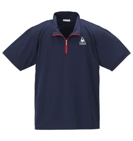 大きいサイズ メンズ LE COQ SPORTIF エアロ ドライ ニット ハーフジップ 半袖 シャツ ネイビー 1178-9265-3 2L 3L 4L 5L 6L