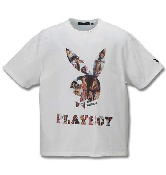 大きいサイズ メンズ PLAY BOY カラー分解 プリント & 刺繍 半袖 Tシャツ オフホワイト 1178-9285-1 3L 4L 5L 6L 8L