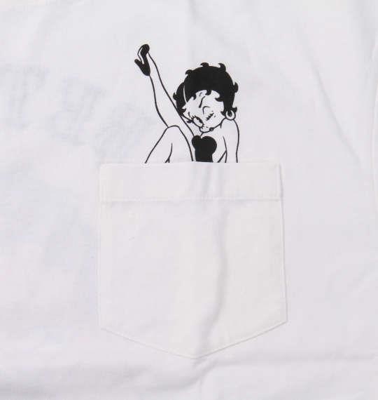 大きいサイズ メンズ BETTY BOOP プリント & 刺繍 ハート & ローズ 半袖 Tシャツ オフホワイト 1178-9520-1 3L 4L 5L 6L 8L