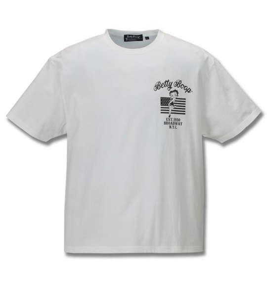 大きいサイズ メンズ BETTY BOOP プリント & 刺繍 アメリカンフラッグ 半袖 Tシャツ オフホワイト 1178-9521-1 3L 4L 5L 6L 8L