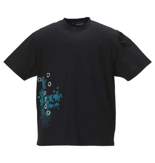 大きいサイズ メンズ 絡繰魂 × 北斗の拳 ケンシロウ × 荒波刺繍 半袖 Tシャツ ブラック 1178-9575-1 3L 4L 5L 6L
