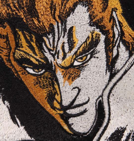 大きいサイズ メンズ 絡繰魂 × 北斗の拳 サウザー × 金牡丹刺繍 半袖 Tシャツ ブラック 1178-9577-1 3L 4L 5L 6L