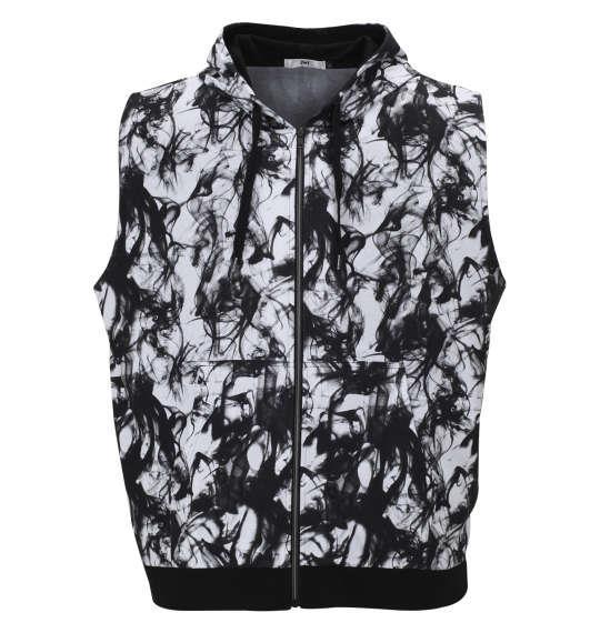 大きいサイズ メンズ RIMASTER スモーク 総柄 ノースリーブ パーカー + 半袖 Tシャツ ホワイト × ブラック 1158-9240-1 3L 4L 5L 6L 8L