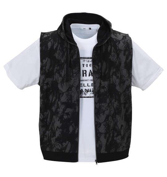 大きいサイズ メンズ RIMASTER スモーク 総柄 ノースリーブ パーカー + 半袖 Tシャツ チャコール杢 × ホワイト 1158-9240-2 3L 4L 5L 6L 8L