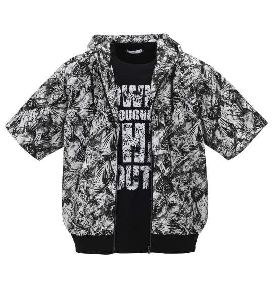 大きいサイズ メンズ RIMASTER メッシュ リーフ 総柄 半袖 パーカー + 半袖 Tシャツ ホワイト × ブラック 1158-9241-1 3L 4L 5L 6L 8L